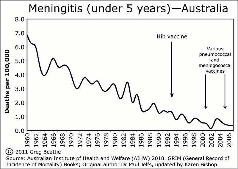 Meningitis Australia under fives, 1960 to 2006